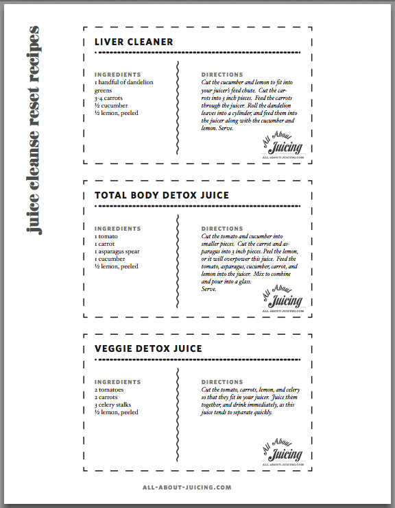 Juice Cleanse Reset Recipe Cards