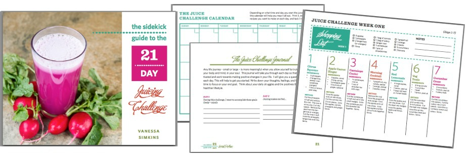 It includes recipes and weekly shopping lists, a special 'juicy extras'  challenge, a journal, and a printable calendar. Only $7.