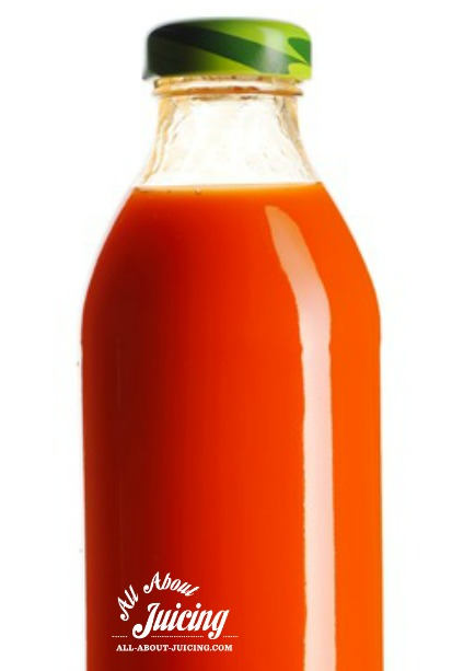 carrot juice in glass bottl